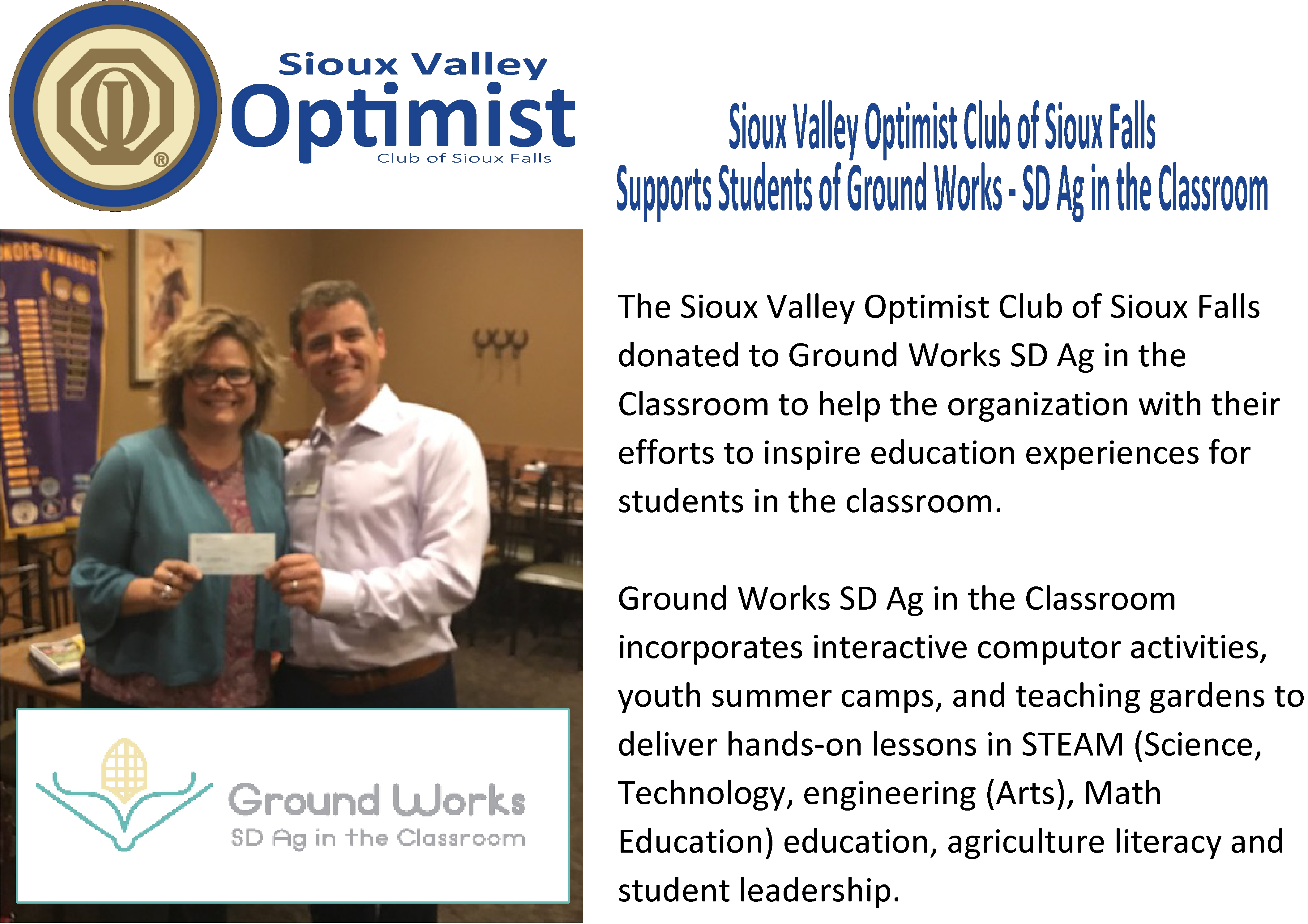 SVOC Donates to Ground Works/SD Ag in the Classroom  